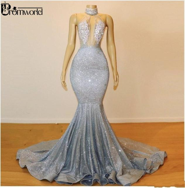 Bling Silver Mermaid Prom Dresses Long 2021 Jewel Neck Beads Crystals Sexy Backless See Through Evening Gown Party Wear 2
