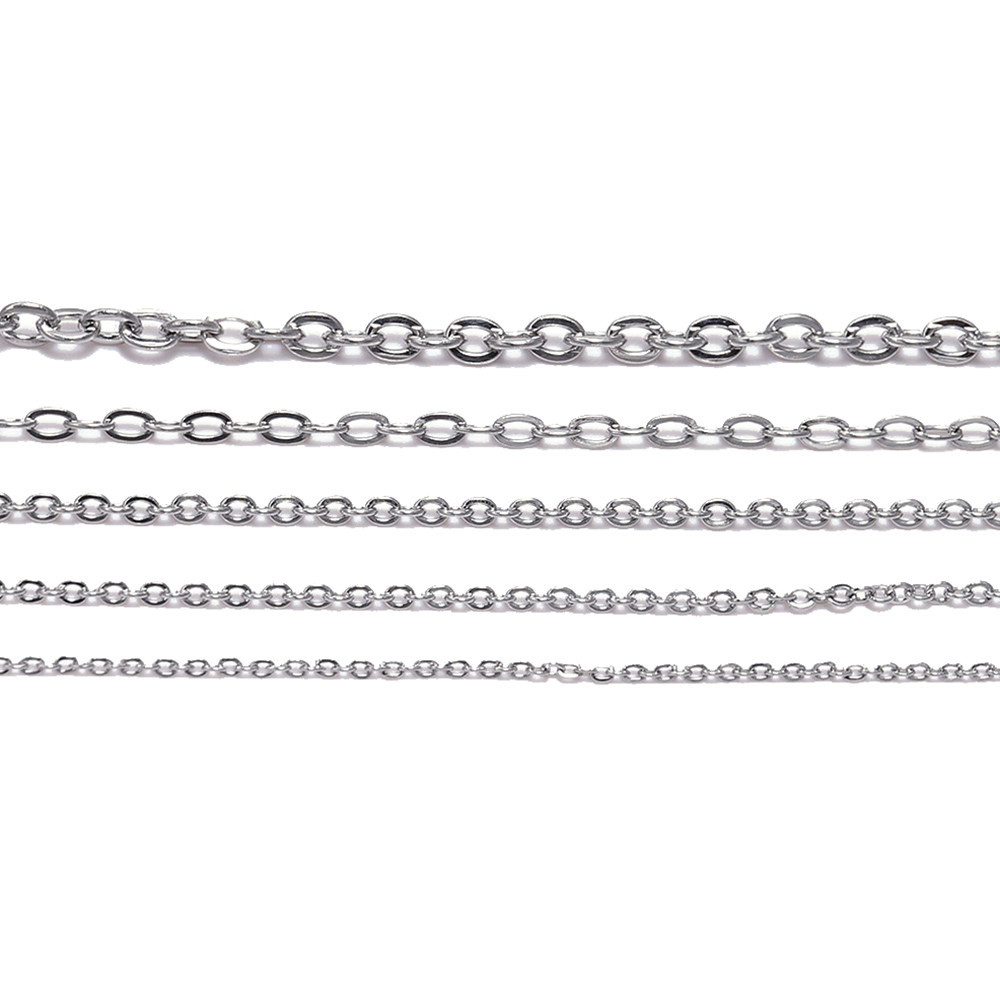5M/Lot 1.2 1.5 2.0 2.4 3.0 Mm Stainless Steel Link Chain Bulk Necklace Chains For Jewelry Making Findings Supplies Accessories