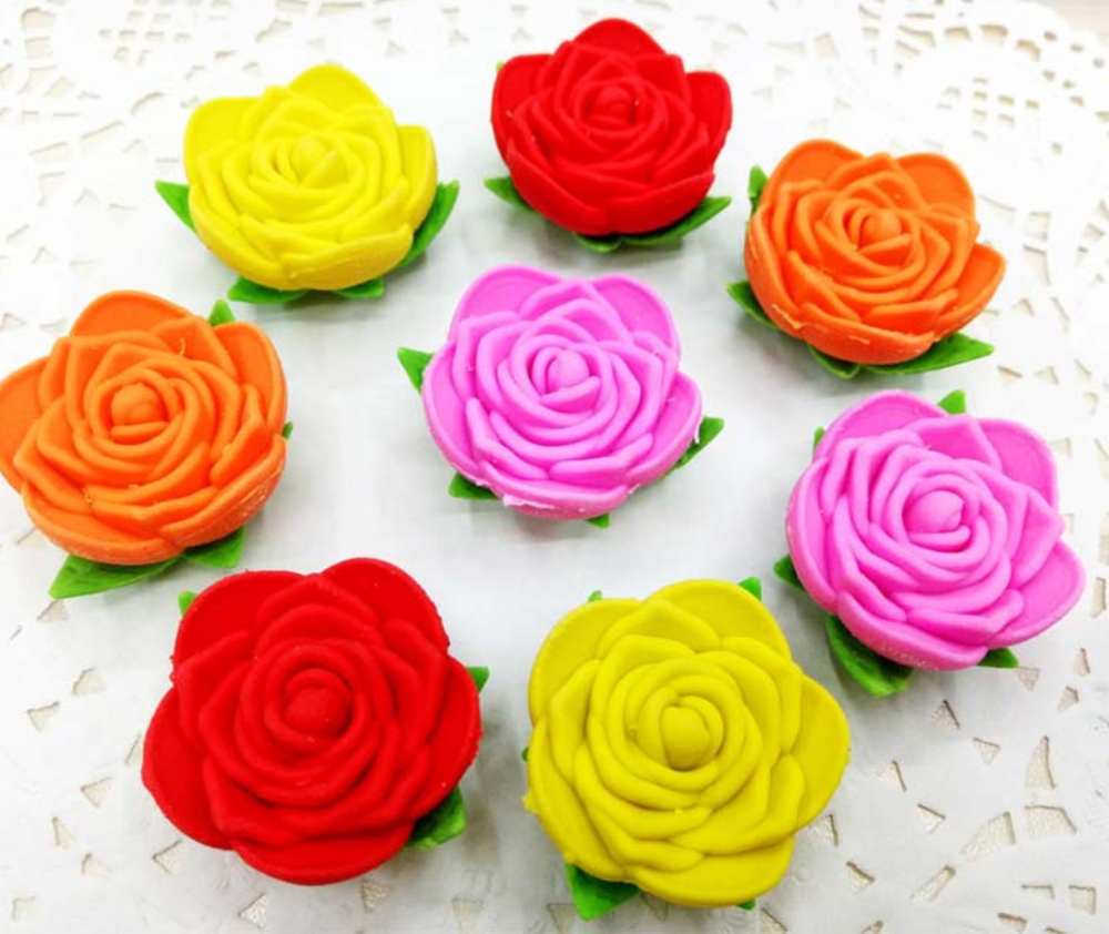 4pcs Cute Cartoon Rose Flower Pencil Top Kawaii Animal Eraser Set Stationery School Office Rubber Supplies Kids Gift