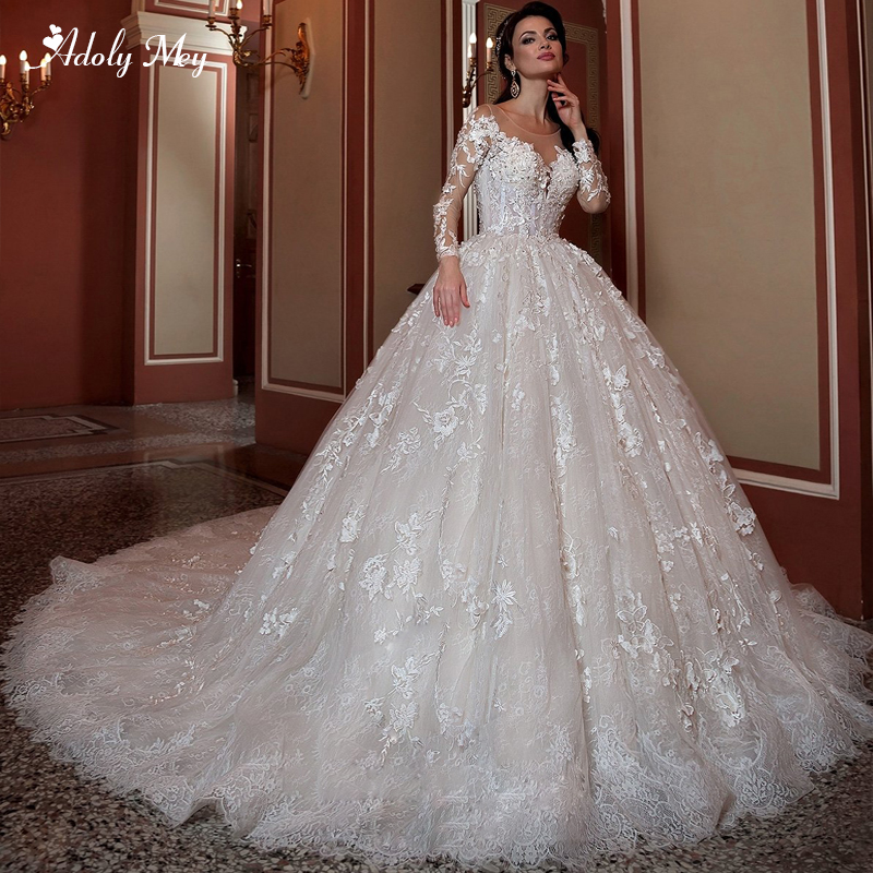 Adoly Mey New Arrival Scoop Neck Long Sleeve Ball Gown Wedding Dresses 2020 Luxury Beaded Lace Appliques Court Train Bride Gown