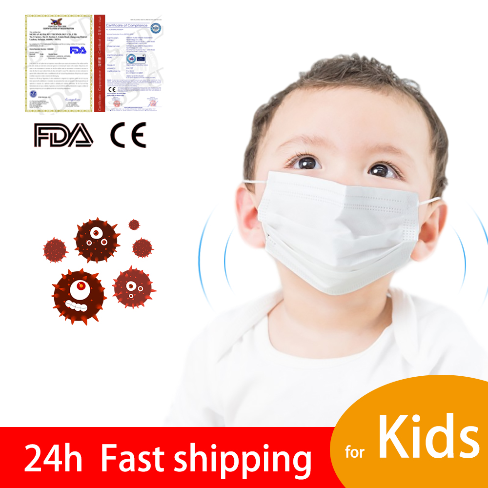 100Pcs Child Type Disposable Protective Masks 3 Layer Elastic Face Mouth White Filters Masks Breathable Kids Face Mask Boy Girls
