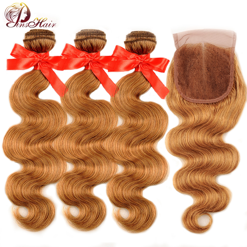 Brazilian Body Wave Bundles With Closure #27 Ombre Blonde Brown Human Hair Weave Bundles With Closure Pinshair Non-Remy
