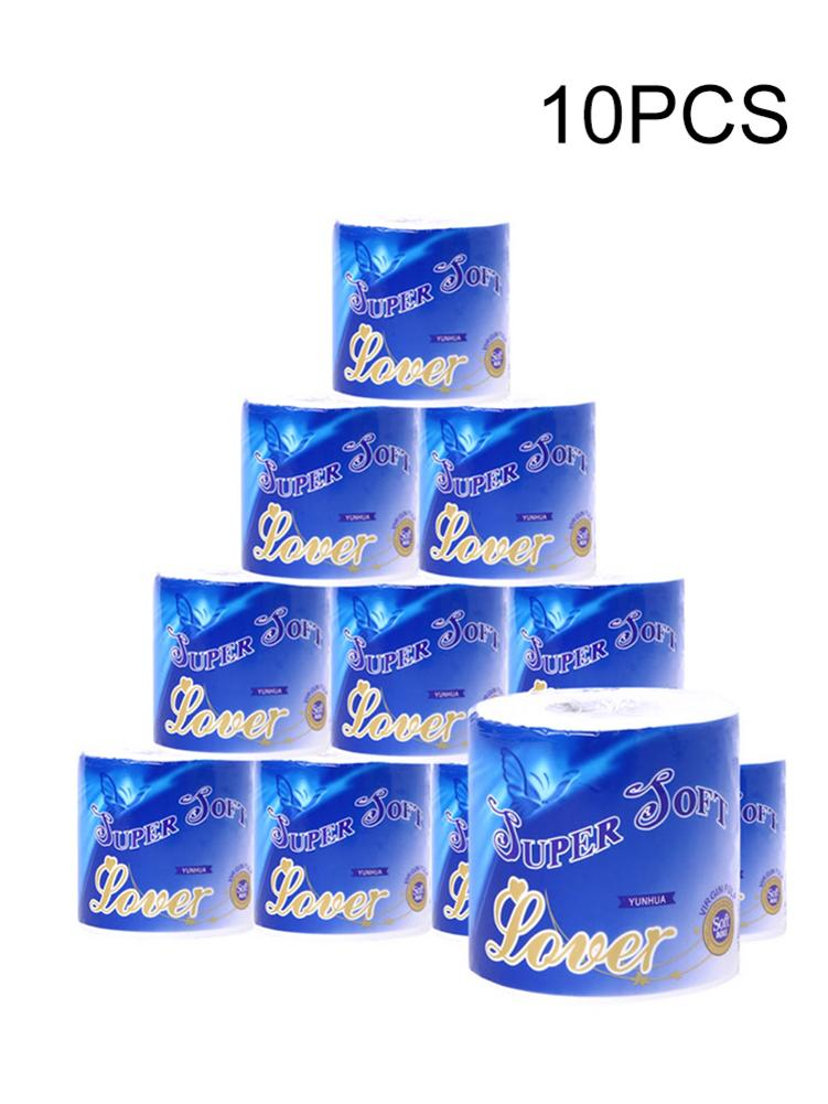 10 Roll Paper Towel - Native Wood Pulp Smooth Soft 3-Ply Paper Towel Bathroom Toilet Tissue Paper Degradable Roll Paper