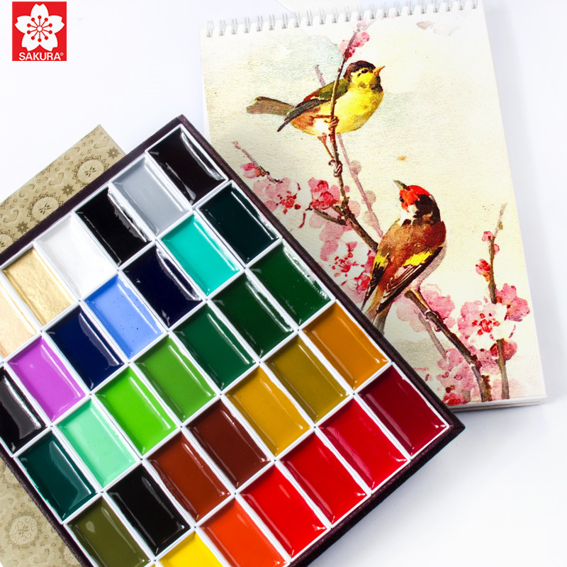 1set Japan Sakura Auspicious Solid Watercolor Pigmant 60/48/35/24/18/12/8/6 Colors Professional High Pearl / Fluorescent Color