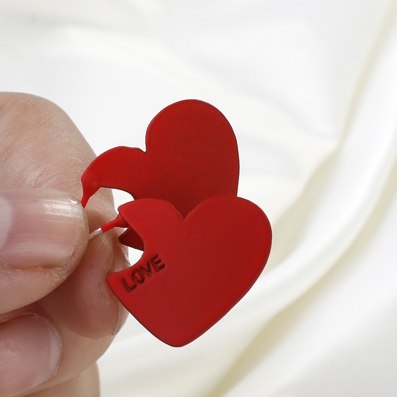 Lifefontier 2020 Vintage Frauen Herz Form Nette Tropfen Ohrringe Mode Rot Liebe Herz Kleine Ohrringe für Frauen Hochzeit Schmuck