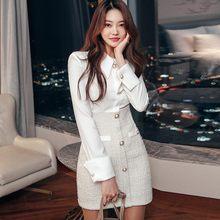Outono 2020 novo retro elegante escritório ol tweed retalhos vestido de manga longa lapela single-breasted bodycon mini vestido feminino