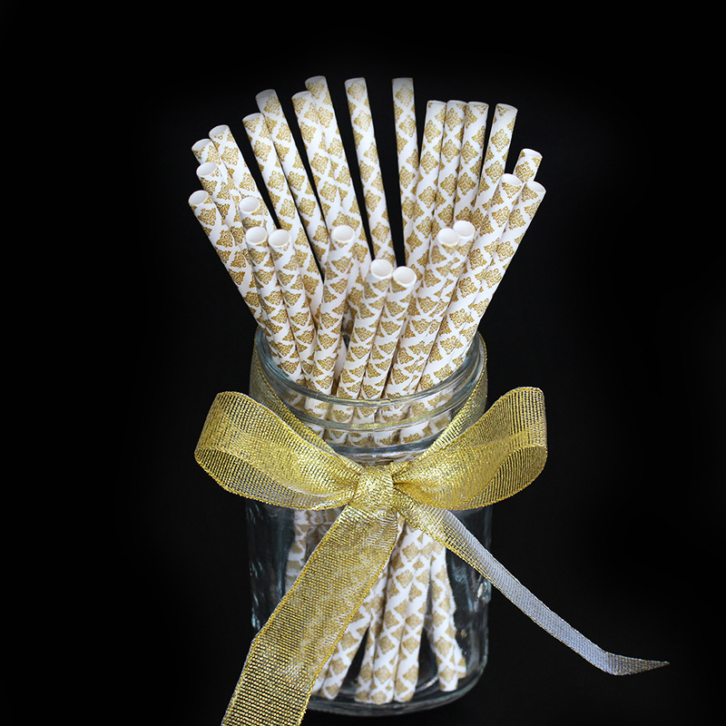 Manufacturers Direct Selling Gold European Version Of Creative Disposable Children Birthday Party Paper Straw Environmentally Fr
