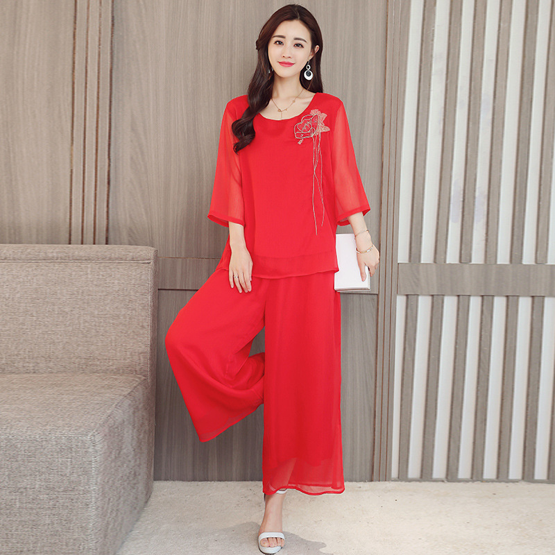 2019 Summer New Style Ethnic-Style Embroidered Loose Tops + Loose-Fit Capri Loose Pants Fashion Leisure Suit