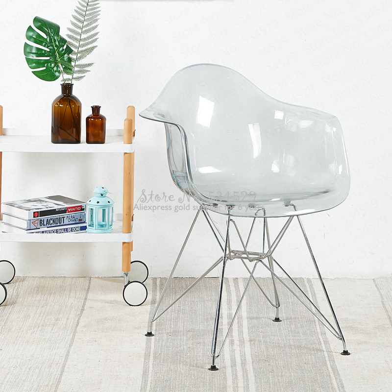 30%2B Creative Armrest Leisure Chair Plastic Crystal Transparent Dining Chair Simple Modern Fashion Coffee Shop Office Chair