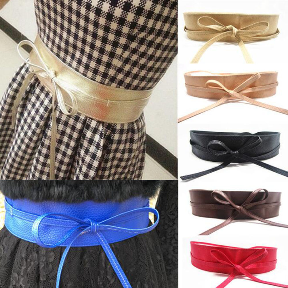 Fashion New Lace Up PU Leather Women Wide Corsets Cummerbunds Strap Belts Girl High Waist Slim Girdle Belt Ties Bow Bands