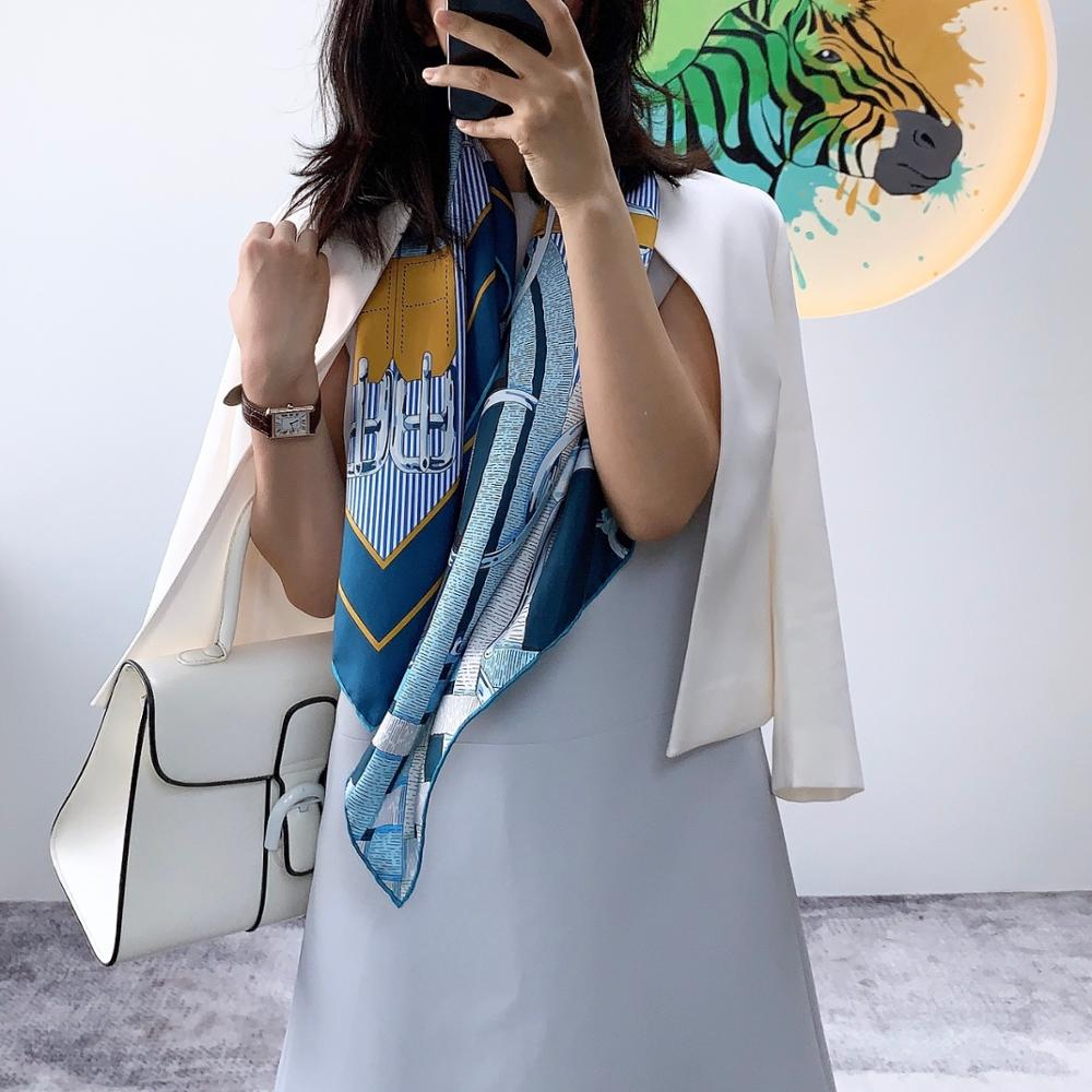 NEW Belts Print 100% Silk Scarf Hijab Head Scarves For Women Fashoin Scarves Shawl 88*88cm