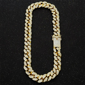 Image 4 - Hip Hop Miami Curb Cuban Chain Necklace 2cm Gold Silver Color Iced Out Paved Rhinestones CZ Bling Rapper Necklaces Men Jewelry
