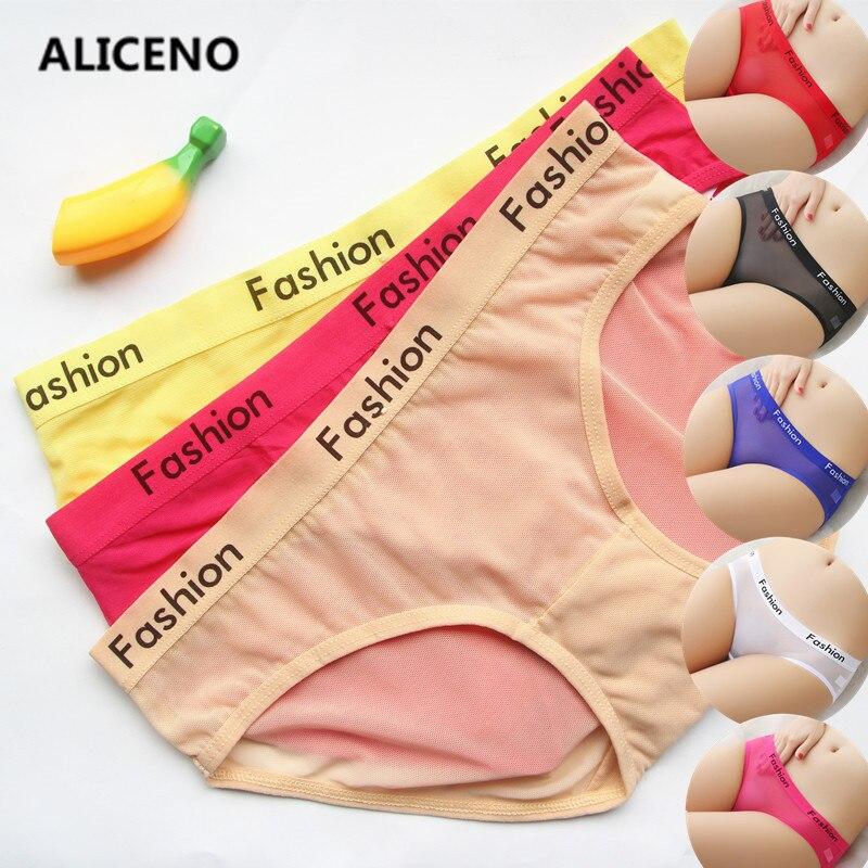 3PCS/SET Letter Print Sexy Ladies Transparent   Panties   lingerie Fashion Low-Rise Breathable Underwear Seamless Women Briefs HP07