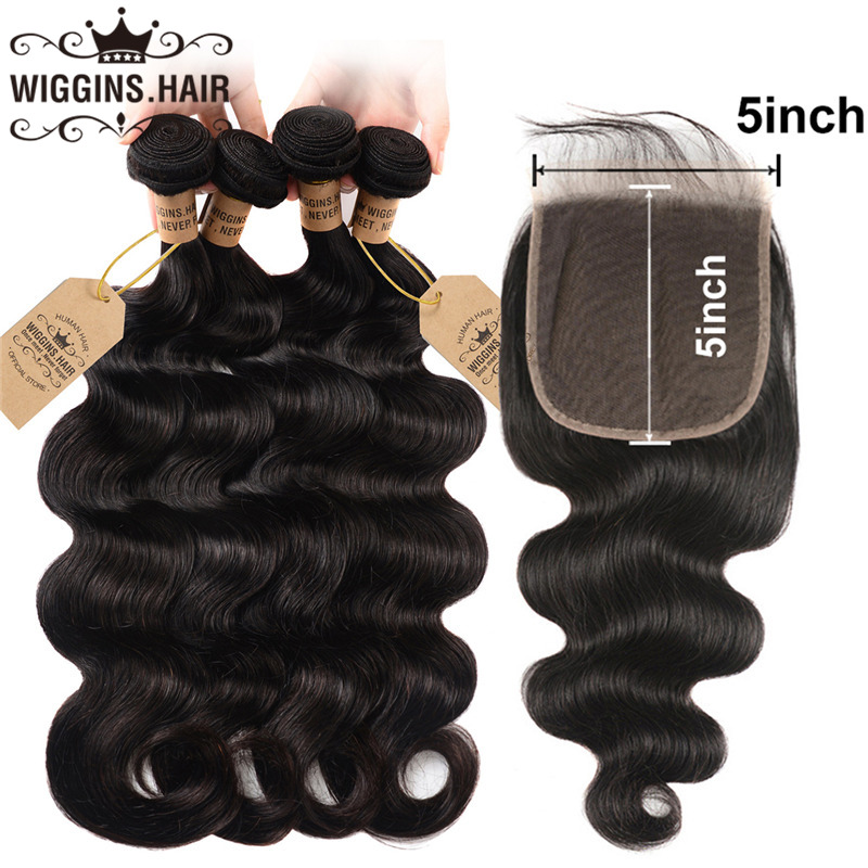 Wiggins Closure Bundles Body-Wave Peruvian 5x5 with Natural-Color