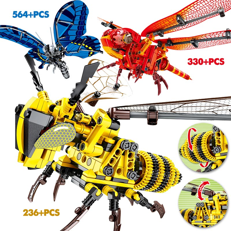 Creator Simulated Insect Butterfly Legoing Technic Bee Red Dragonfly Model DIY Building Blocks Educational Bricks Toys For Kids