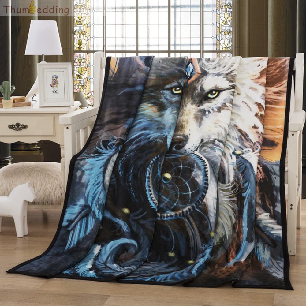 Thumbedding Wild Animal 3D Flannel Blanket Wolf Feathers Throw Blanket Home Decoration Comfortable Material Bedspread 150X200cm