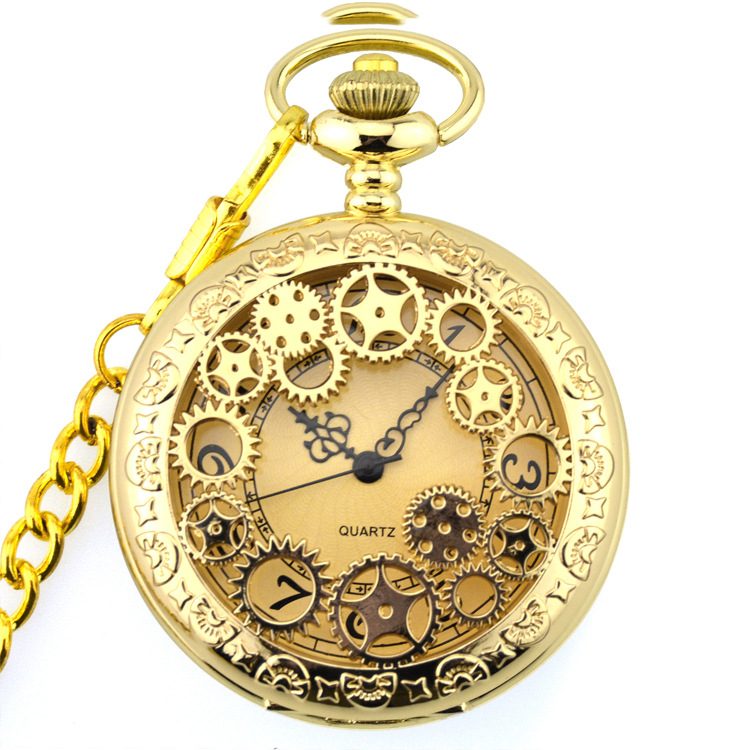 Retro Gold Fashion Hollow Gear Steampunk Quartz Pocket Watch Stainless Steel Pendant For Men Women