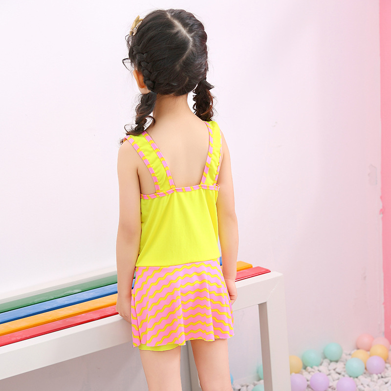 2019 New Style Backless Children Cute One-piece Swimming Suit Boxer Stripes Princess Dress Hipster Swimwear
