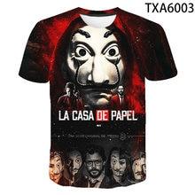Летняя футболка La Casa De Papel с 3D рисунком для мальчиков и девочек, детская модная уличная одежда, мужская, женская, Детская футболка с принтом, к...