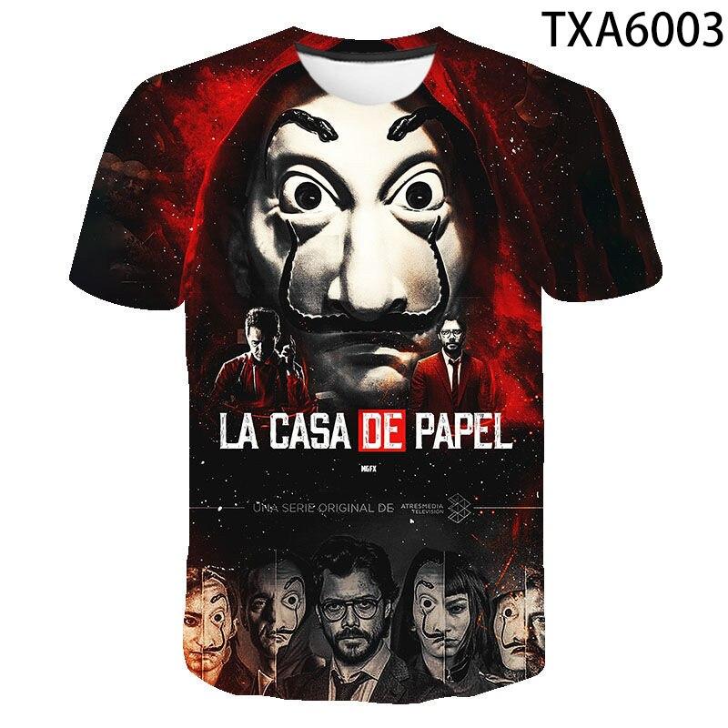 2020 été La Casa De Papel 3D T-shirt garçon fille enfants mode Streetwear hommes femmes enfants imprimé T-shirt dessus frais T-shirt