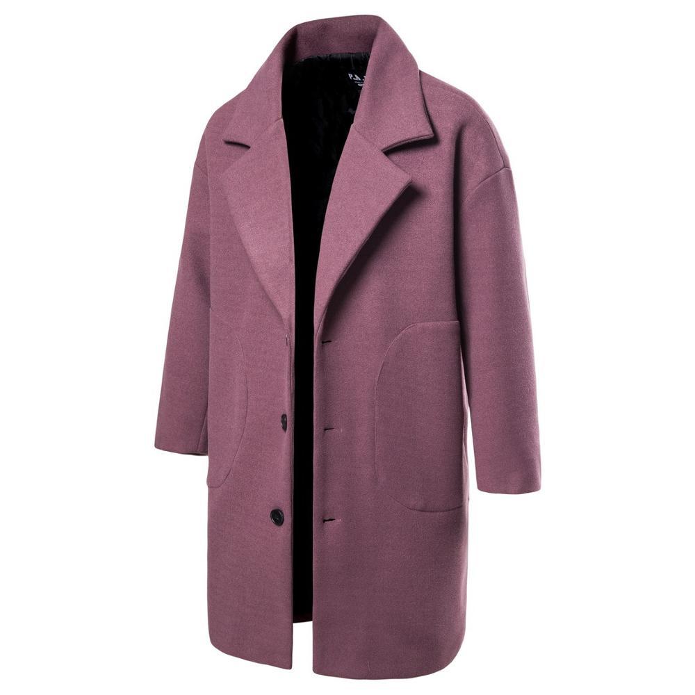 Men Winter Wool Coat Men's New Fashion Solid Color Warm Thick Wool Blends Woolen Pea Coat Male Trench Coat Overcoat