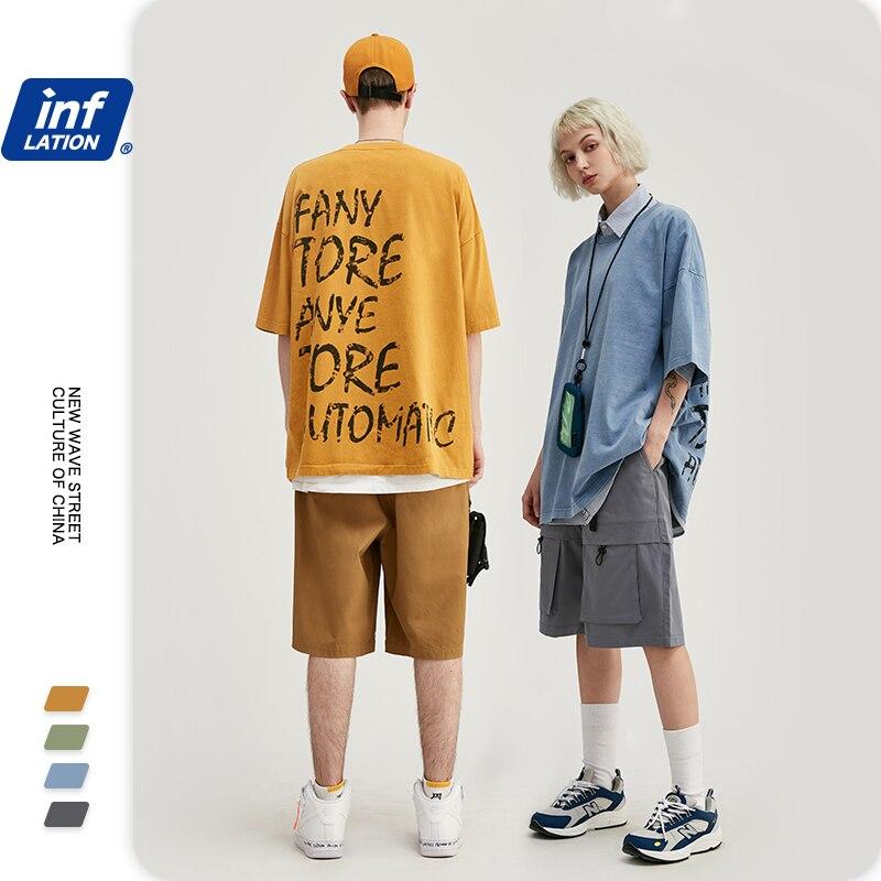 INFLATION Men T-shirt Letter Printing On Back Oversized Tshirt Simple Style Boys Streetwear T Shirt Fashion Men Tshirt 1149S20