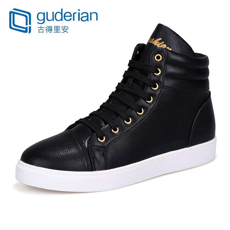 Brand Mens Casual Shoes High Top Sneakers Fashion Leather Shoes For Men Breathable Lace-Up Flat Shoes Men Chaussures Homme Cuir