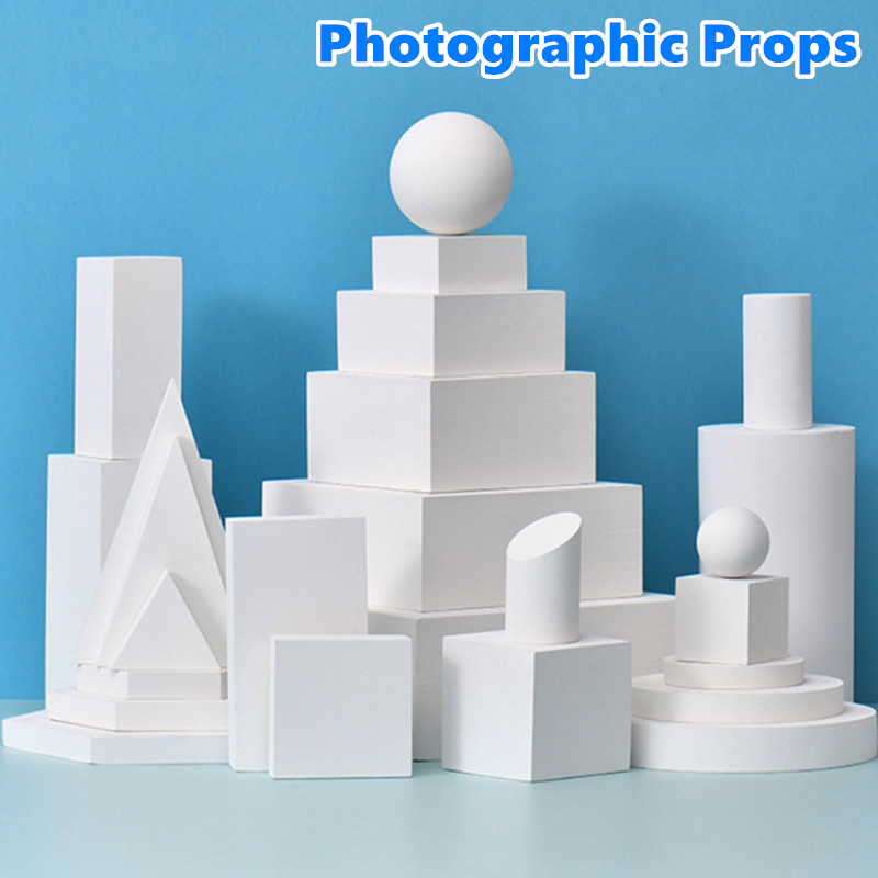 Cube Photographic Prop Ins Style White Geometric Stereo Shooting Props Posing Ornaments Photography Table for Photo Studio