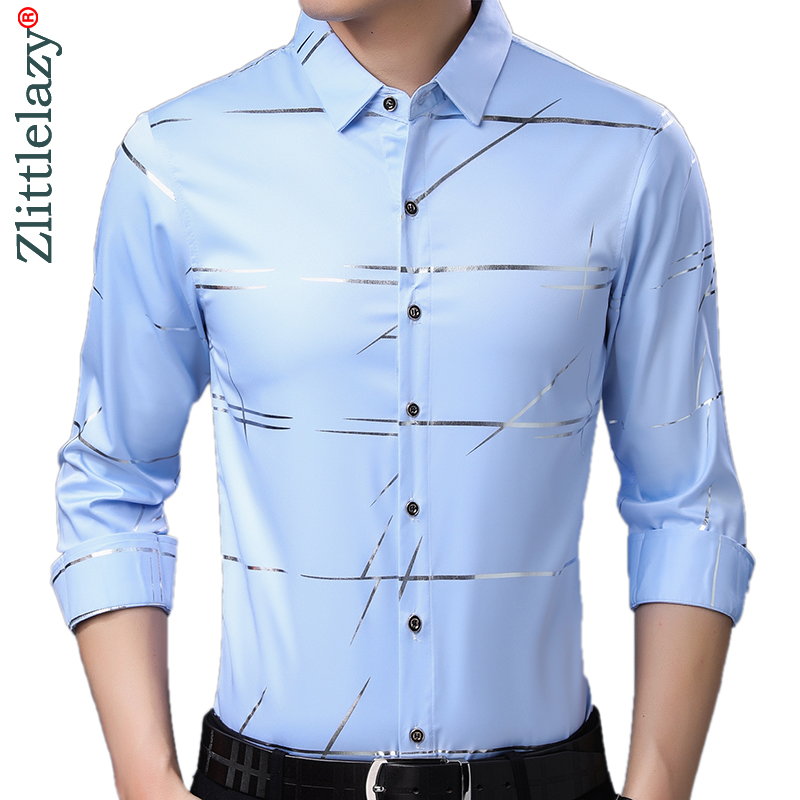 2019 Brand Casual Luxury Striped Long Sleeve Slim Fit Men Shirt Streetwear Social Dress Vintage Shirts Mens Fashions Jersey 9315