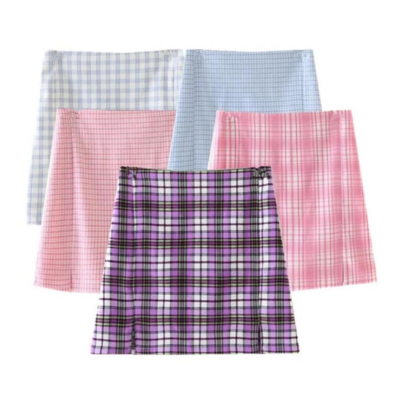 Korean Summer Women Cute Tartan White Pink Patchwork A-line Skirt Saia Plaid Mini Skirt Harajuku Split Skirts Womens