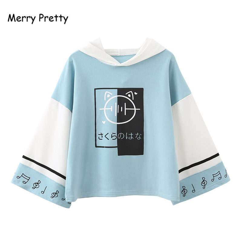 Merry Pretty Women Harajuku Print Hooded Sweatshirts 2019 Long Sleeve Patchwork Hoodies For Femme Casual Loose Cute Pullovers