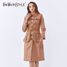 Sashes Long-Sleeve TWOTWINSTYLE Casual-Coats Female Women PU for Lapel High-Waist Windbreaker