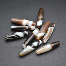 8x34 мм длинные трубки бандана белый кофе цвет Агат Дзи Сардоникс бусины драгоценных камней 5 шт./лот