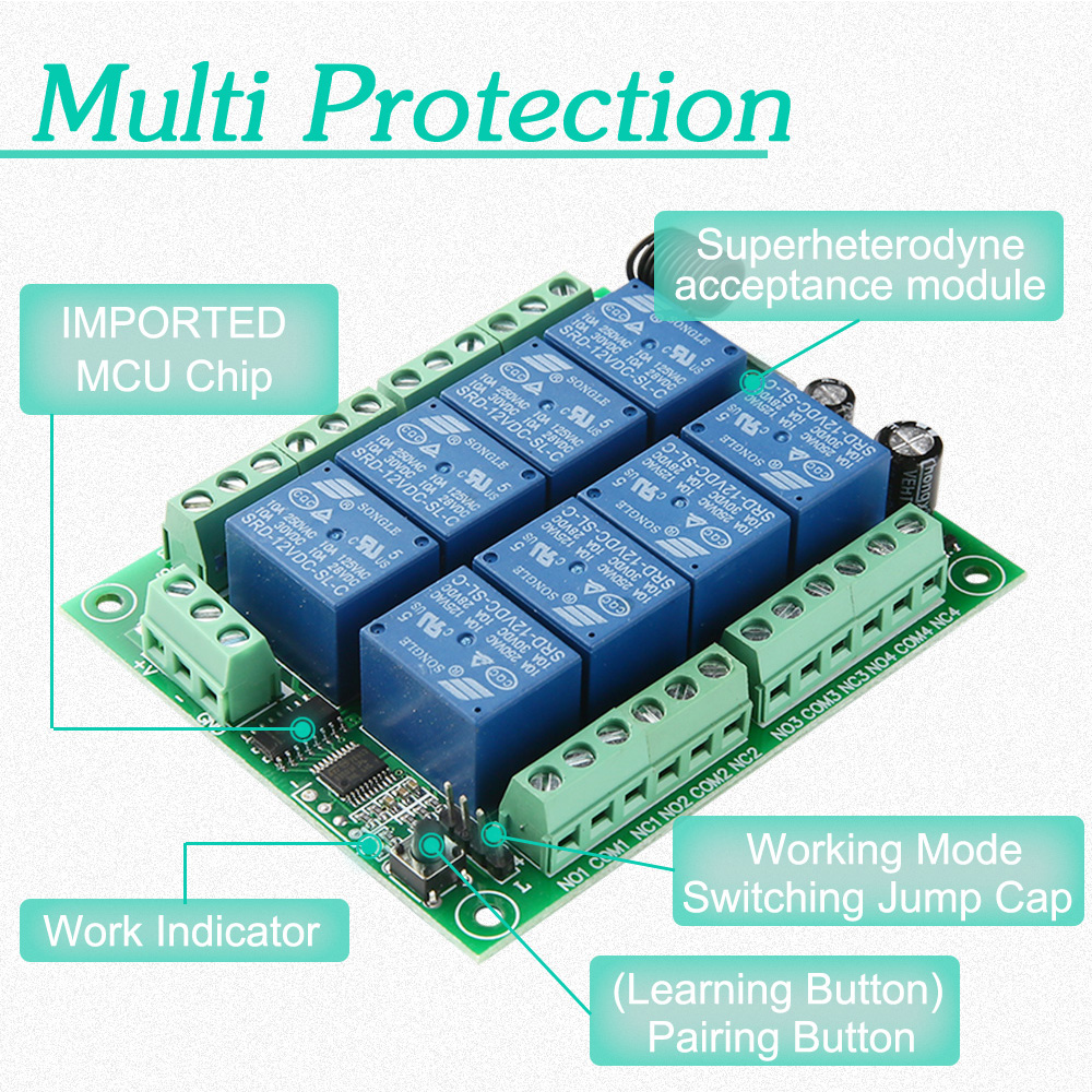 DC12V 8CH Wireless Smart Home Remote Control Switch receiver Relay Module Controller TX 8 Buttons 433MHz RF Transmitter 5