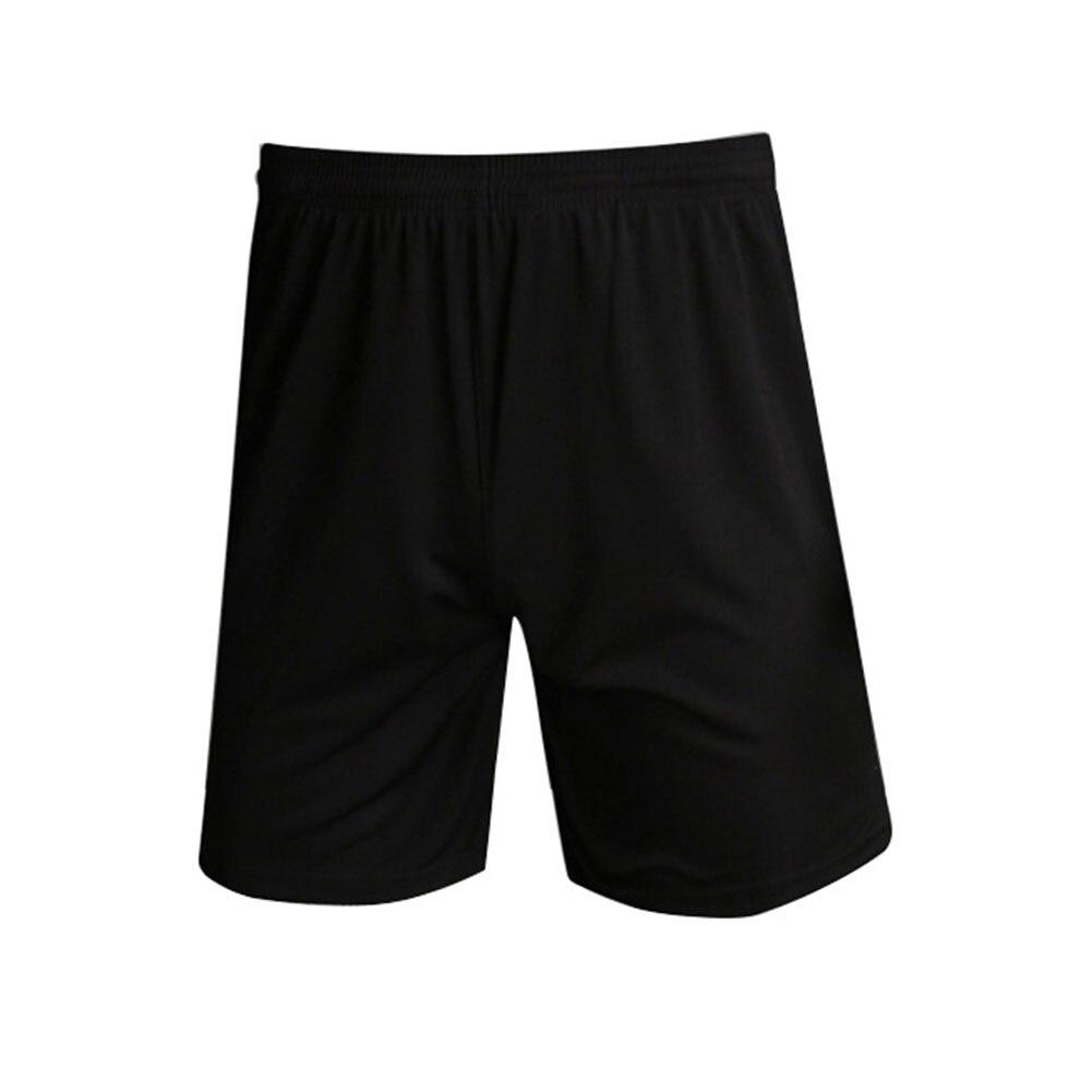 Тренажерный зал Фитнес однотонные обучение Дышащие Беговые Для мужчин шорты спортивные Футбол с эластичной резинкой на талии, быстросохнущая Спортивная Повседневное - Цвет: Черный