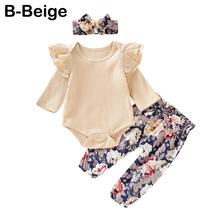 Get more info on the Princess girl clothes set fly sleeve romper +floral pants +headband clothes autumn wear 0-18m 9.10