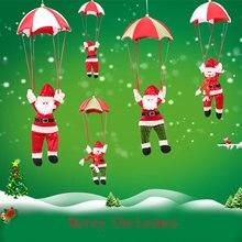 Christmas Home Ceiling Decorations Parachute Santa Claus Snowman New Year Hanging Pendant Decoration Supplies
