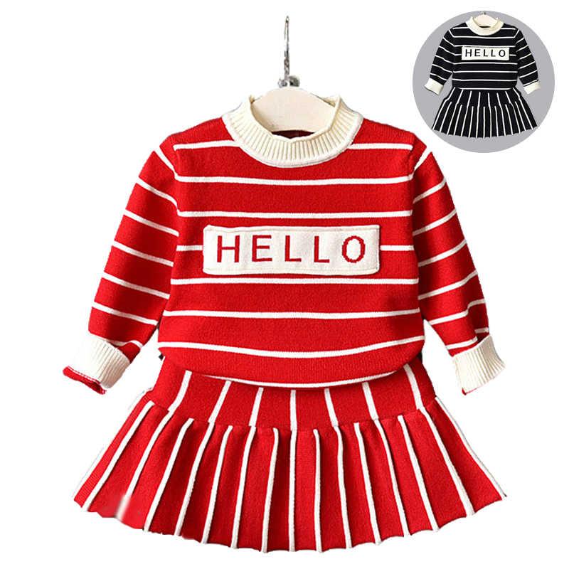 Ropa de bebé niña nuevo suéter de bebé femenino conjunto de tela escocesa de impresión de punto suéter niñas caliente suéter falda de dos piezas