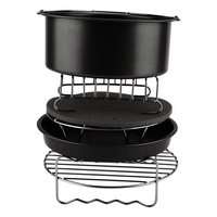 6Pcs Durable Baking Basket Pizza Plate Air Fryer Accessories For Cooking Kitchen Black|  -
