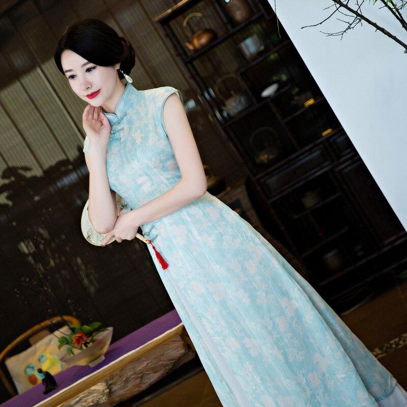 Summer Girl Qipao Ethnic Vietnam Sleeveless Ao Dai Dress For Women
