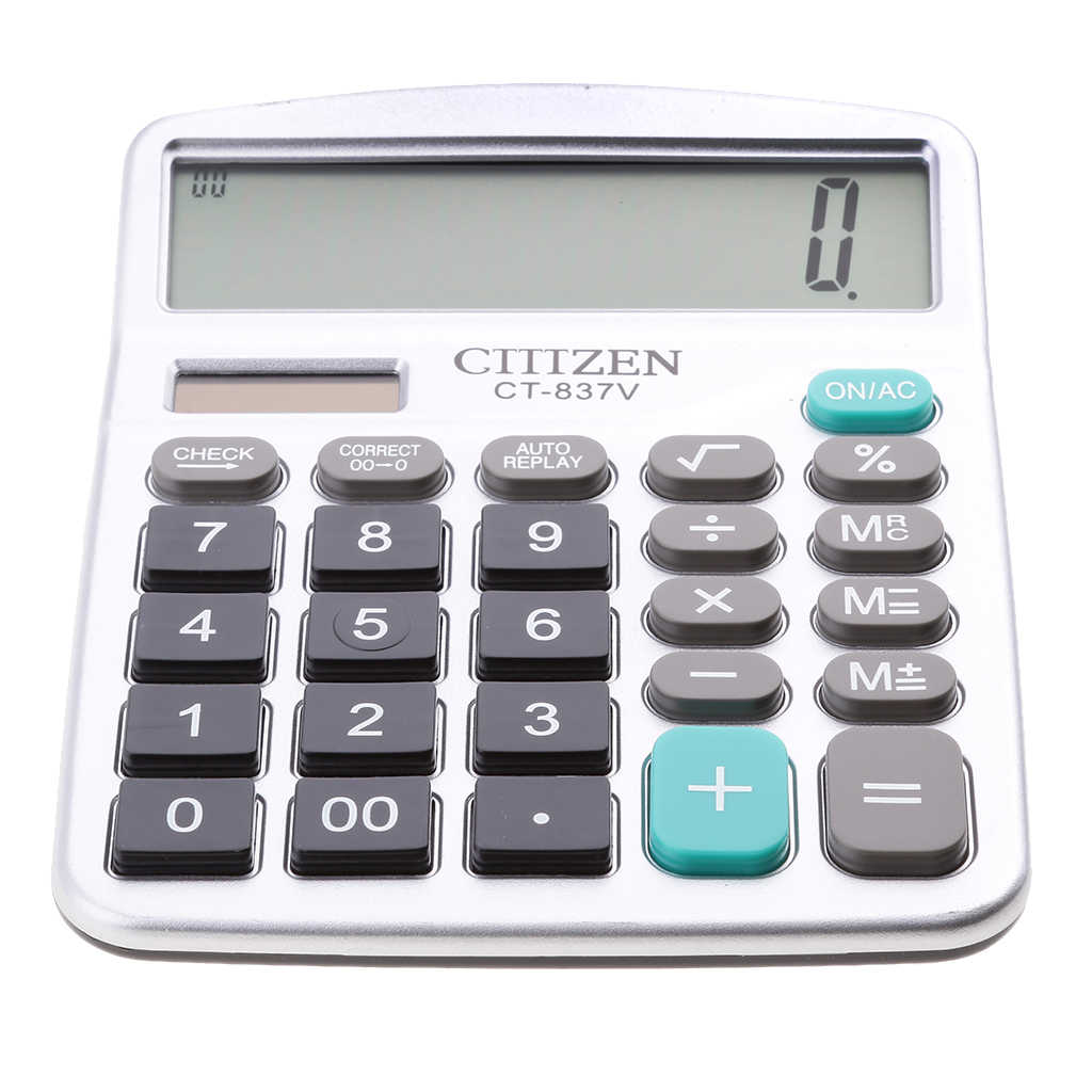 calculadora electrónica 12 dígitos gran pantalla LCD mano para el negro diario