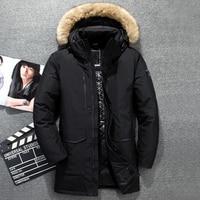 51C Winter Genuine Fur Hooded Duck Down Jackets Men Warm Russia Down Coats Male Casual Winter Down Parkas Outdoor Ski Jacket