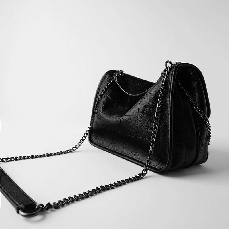 New Rhombus Black Rock Soft Single Shoulder Oblique Span Chain Bag Luxury Handbags for Woman 2020 PU Leather Messenger Bag