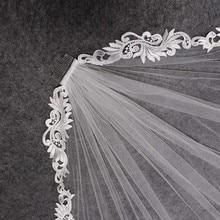 Фата свадебная короткая с гребнем, элегантная кружевная, 1 метр, цвета слоновой кости, свадебный аксессуар