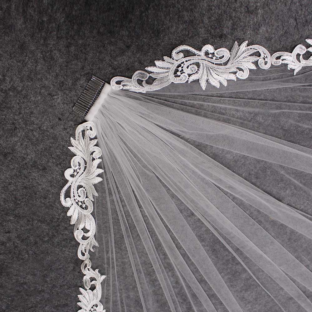 Elegant Short Lace Wedding Veil 1 Meter Ivory Bridal Veil With Comb Velo Novia Wedding Accessories
