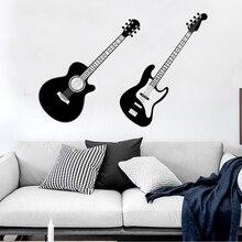 Guitar Modern fashion Decoration Wall Sticker PVC Musician Music Living Room Backdrop Mural Waterproof Wallpaper Home DecorLW326