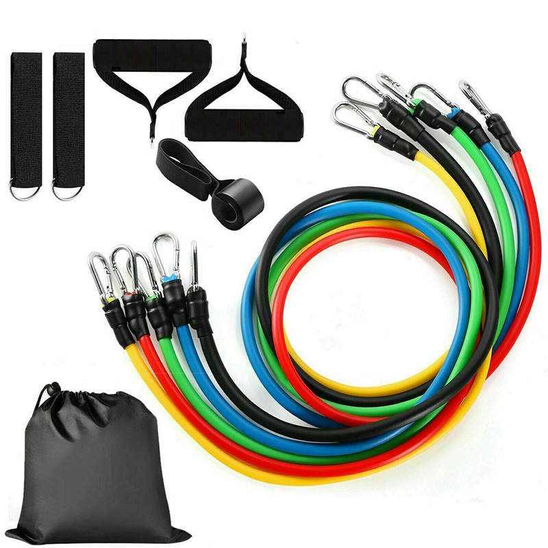 11-piece Resistance Bands Set Fitness Rubber Workout Elastic Pull Rope Carry Up To 100 Pounds Resistance Training Yoga Exercise