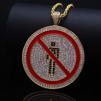 High Quality AAA Zircon Copper Round Signpost Pendant Necklaces Hip Hop Jewelry Gold Silver Stainless Steel Long Chain Necklace