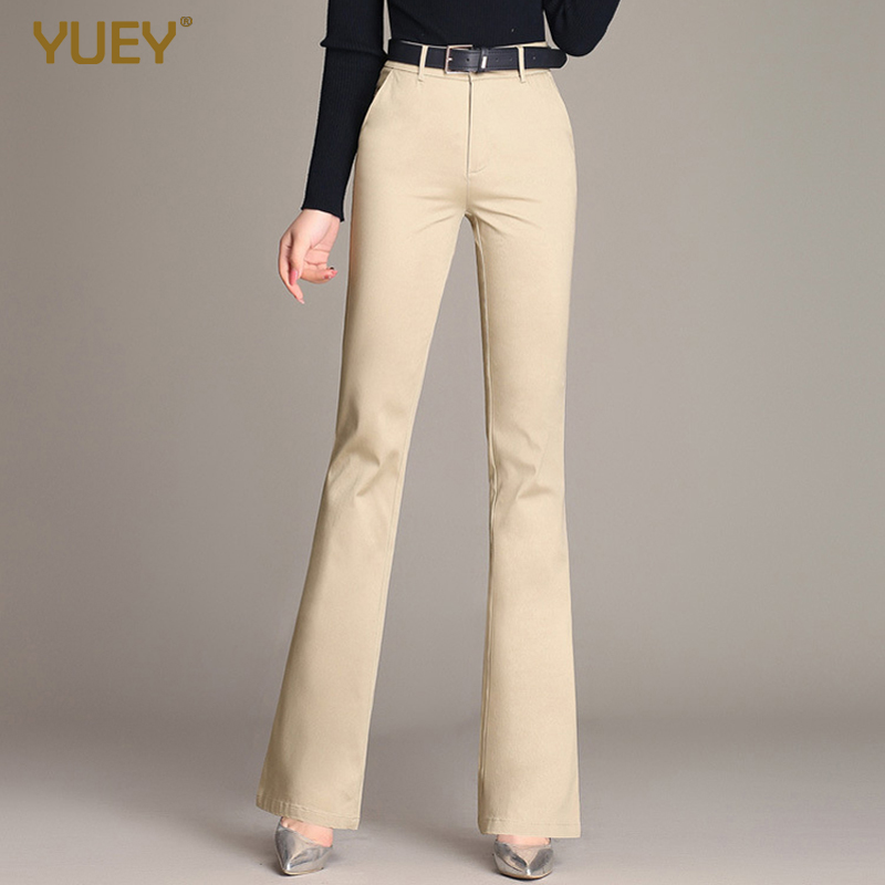 YUEY 2020 Spring New Women's Trousers Mid-waist Cotton Large Size Flared Pants Women Solid Color Casual White Trousers S TO 4XL