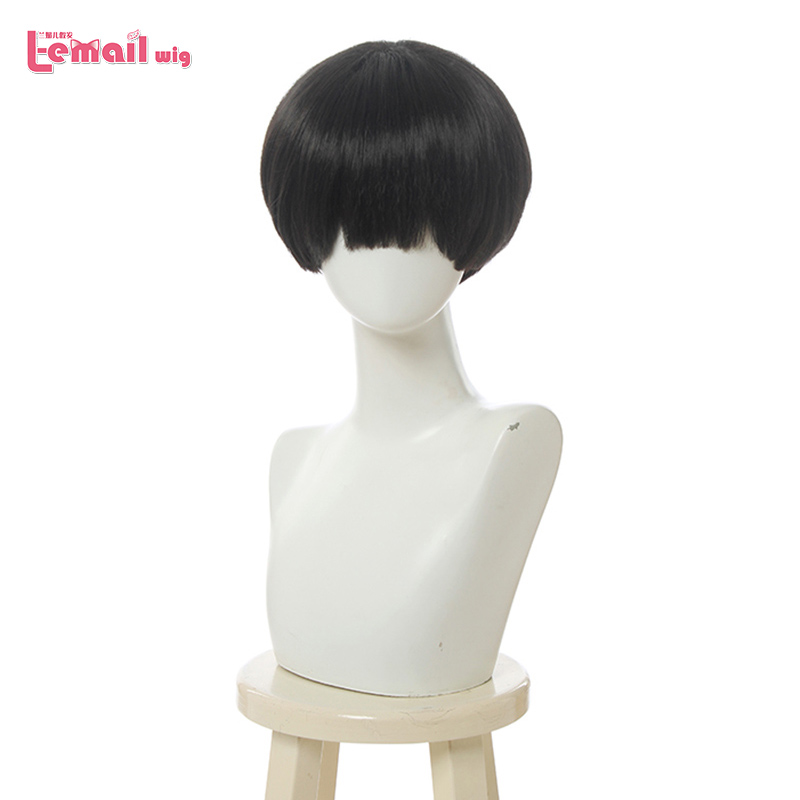 L-email Wig Toilet-Bound Hanako-kun Cosplay Wig Jibaku Shounen Hanako-kun Cosplay Black Short Wig Heat Resistant Synthetic Hair